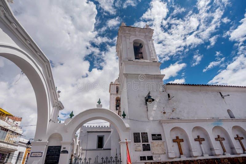 Vecchia chiesa al le Sucre, Bolivia fotografia stock libera da diritti