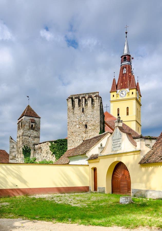 Vecchia chiesa in Cristian, Brasov, Romania fotografia stock