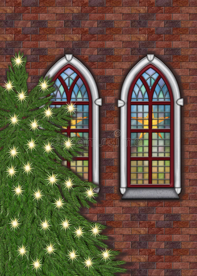 Vecchia chiesa del mattone con l'albero di Natale illustrazione vettoriale