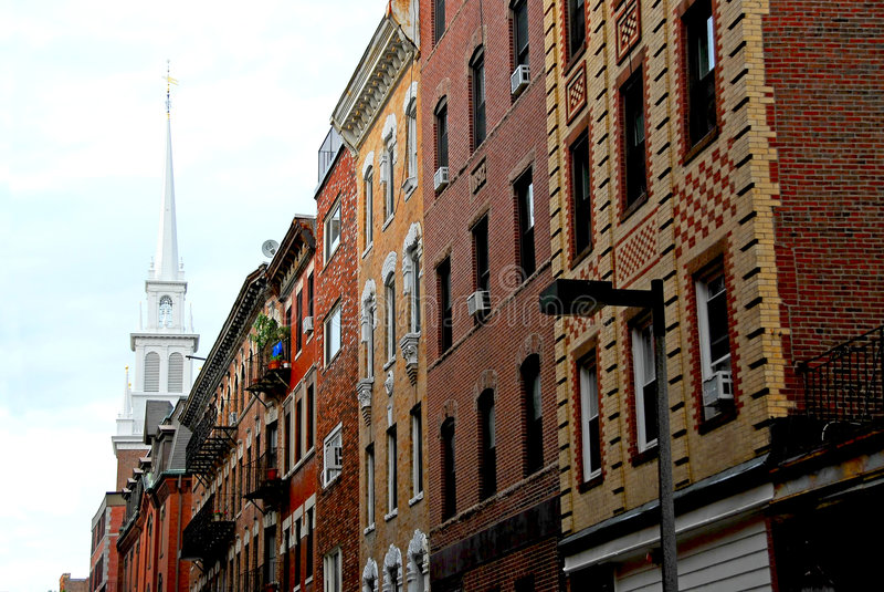 Vecchia chiesa del nord a Boston fotografia stock