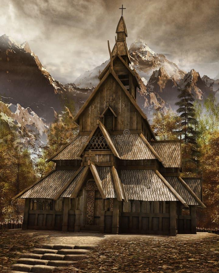 Vecchia chiesa di legno illustrazione di stock