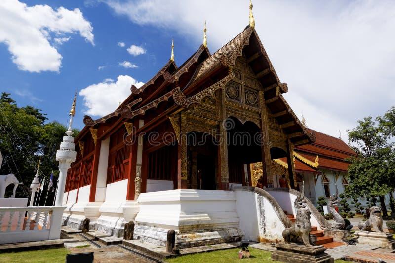 Vecchia chiesa di legno di MAI di Wat Lok Molee Chiang fotografia stock libera da diritti
