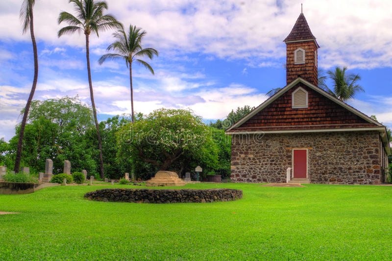 Vecchia chiesa di pietra in Maui, Hawai immagine stock