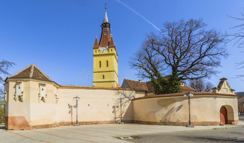 Vecchia chiesa fortificata in Cristian, Brasov, Romania immagine stock