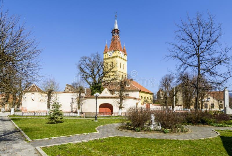 Vecchia chiesa fortificata in Cristian, Brasov, Romania fotografie stock