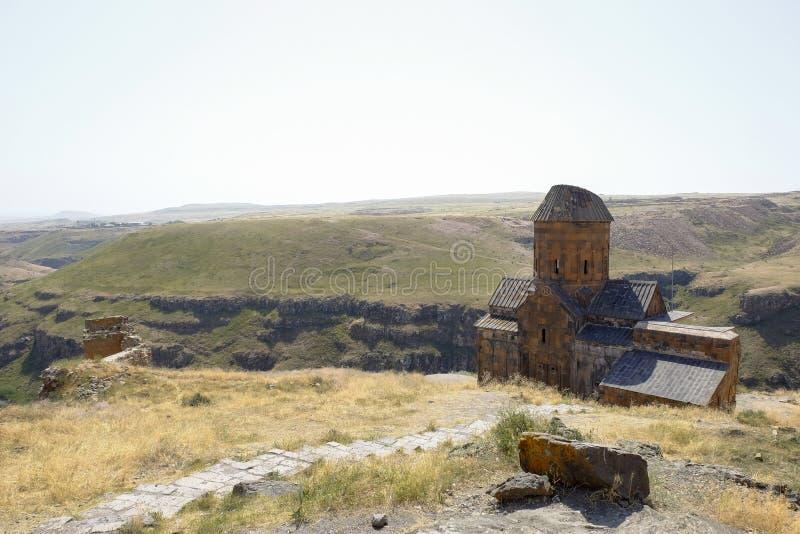 Vecchia chiesa nelle rovine degli ani, Turchia fotografie stock
