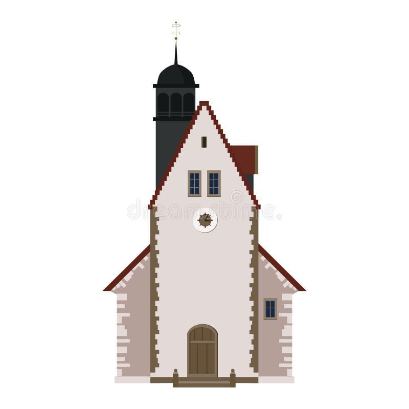Vecchia chiesa, tempio, casa, costruzione, facciata, Europa, tradizioni medievali Stile architettonico europeo Vettore illustrazione vettoriale