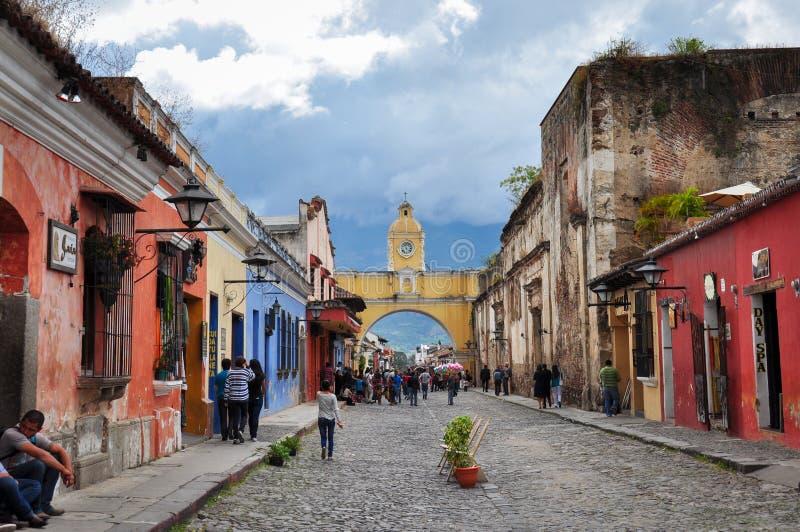 Vecchia città coloniale dell'Antigua, Guatemala immagine stock libera da diritti