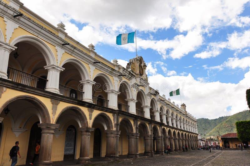 Vecchia città coloniale dell'Antigua, Guatemala immagini stock libere da diritti