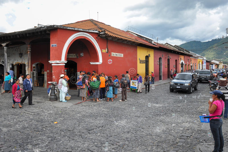 Vecchia città coloniale dell'Antigua, Guatemala fotografia stock libera da diritti