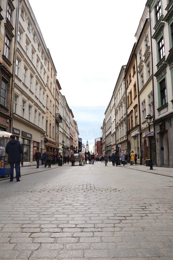 Vecchia città Cracovia Vecchie costruzioni Via antica Quadrato antico immagini stock libere da diritti