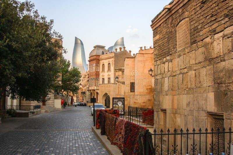 Vecchia città di Baku Azerbaijan fotografia stock
