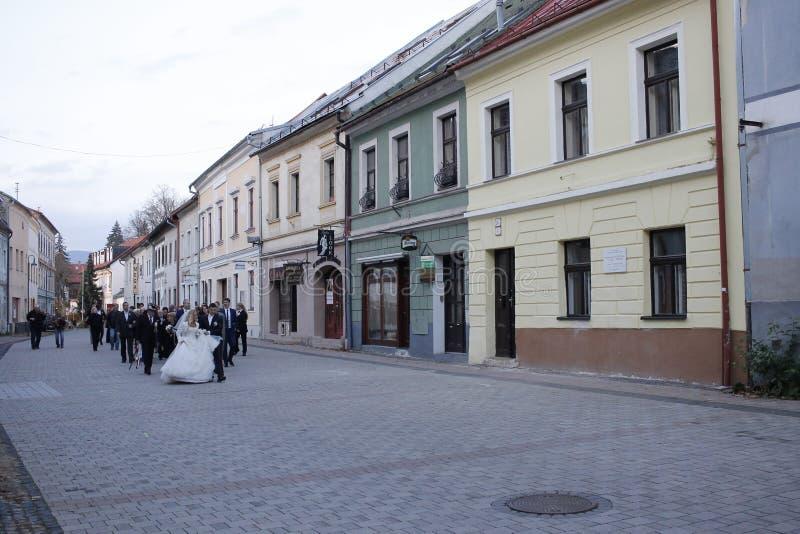Vecchia città di Banska Bystrica, Slovacchia centrale fotografia stock libera da diritti