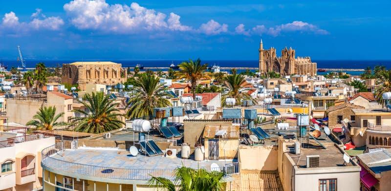 Vecchia città di Famagosta (Gazimagusa), vista panoramica cyprus immagini stock libere da diritti