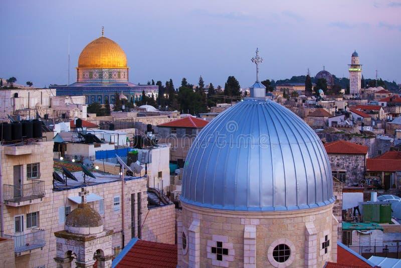Vecchia città di Gerusalemme alla notte, Israele immagini stock