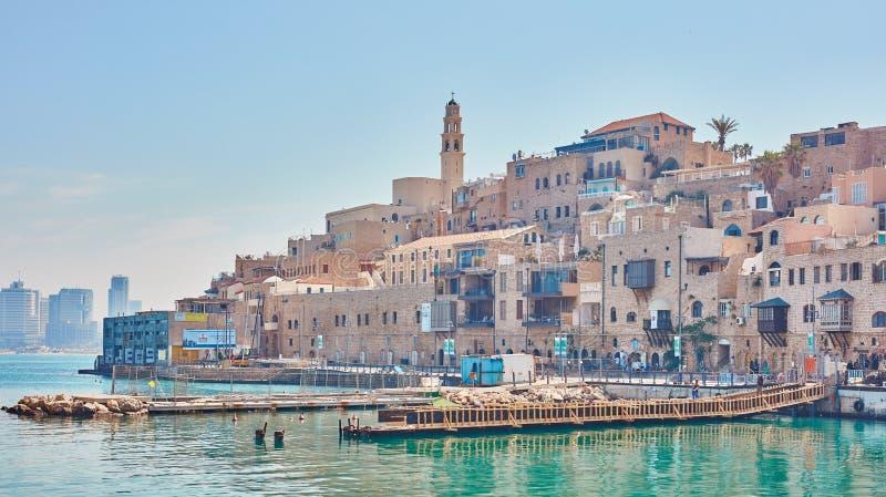 Vecchia città di Giaffa, vista della spiaggia fotografie stock libere da diritti