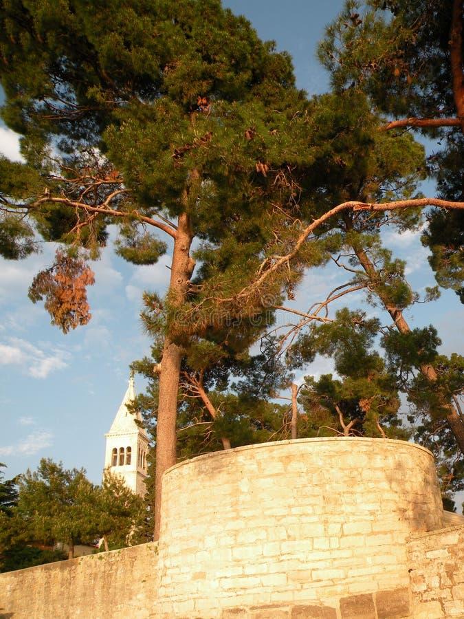 Vecchia città di Istrian di Novigrad, Croazia Una bella chiesa con un alto campanile elegante, i vicoli di pietra e una vecchia c fotografia stock libera da diritti