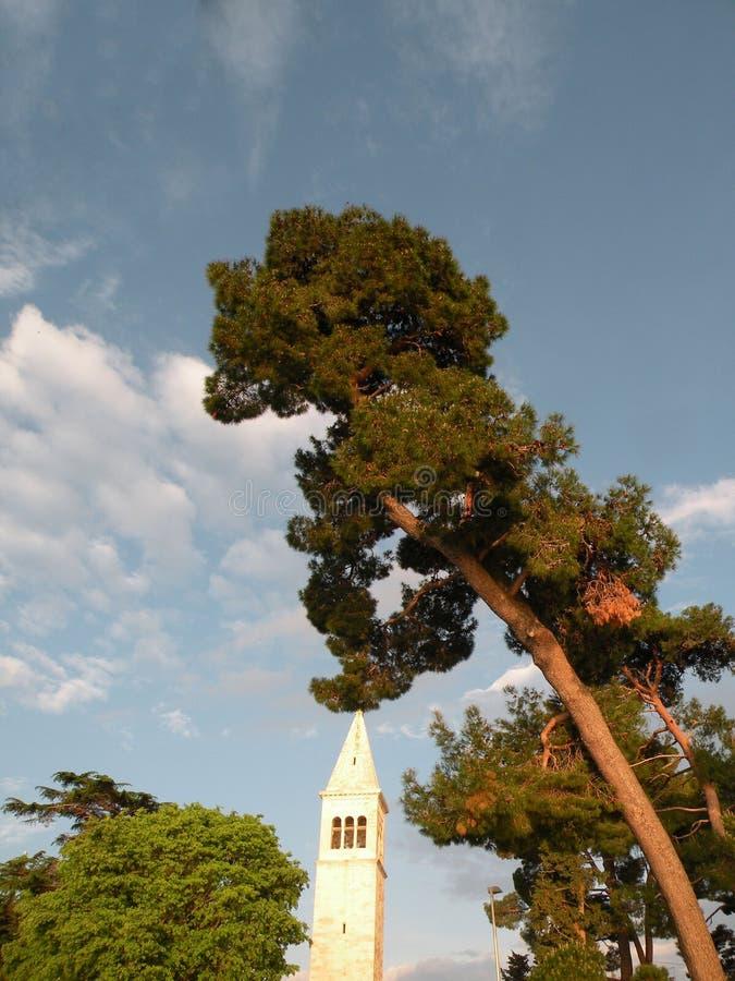 Vecchia città di Istrian di Novigrad, Croazia Una bella chiesa con un alto campanile elegante, i vicoli di pietra e una vecchia c fotografie stock
