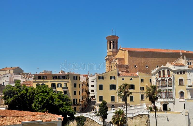 Vecchia città di Mahon, Minorca, Spagna fotografia stock libera da diritti