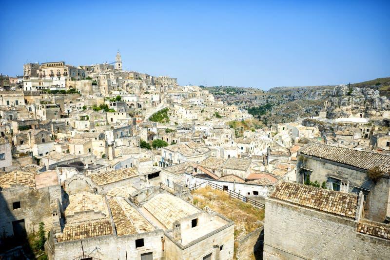 Vecchia città di Matera, Basilicata, Italia fotografia stock libera da diritti