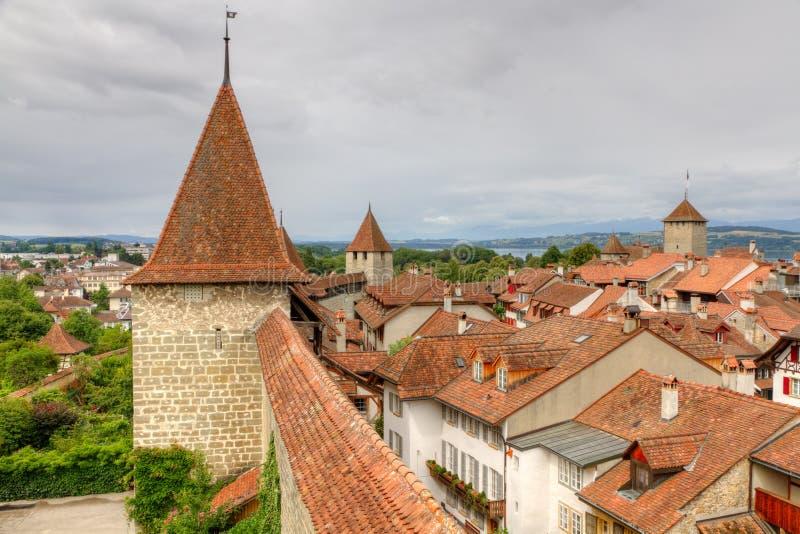 Vecchia città di Murten, Svizzera immagini stock libere da diritti