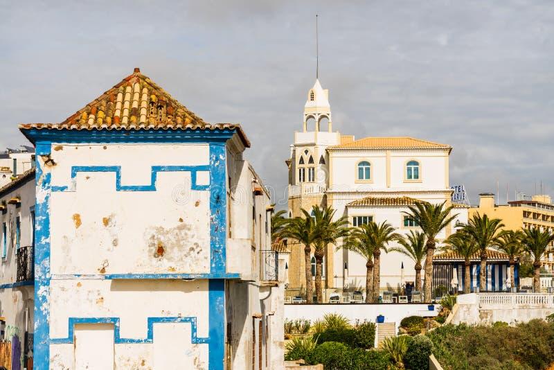 Vecchia città di Portimao, Portogallo Regione di Algarve immagine stock libera da diritti