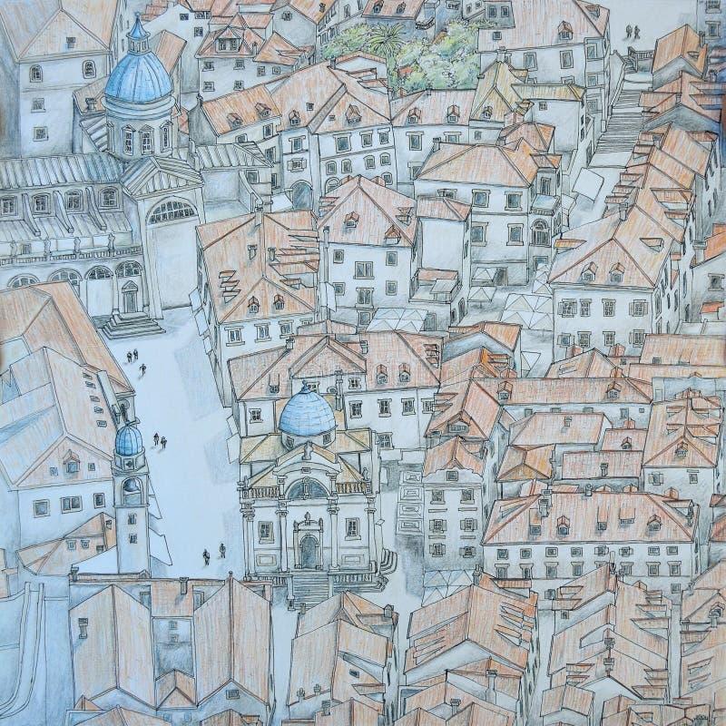 Vecchia città di Ragusa da sopra illustrazione vettoriale