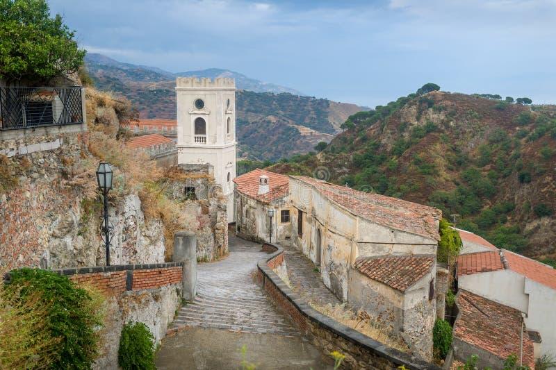 Vecchia città di Savoca fotografie stock libere da diritti