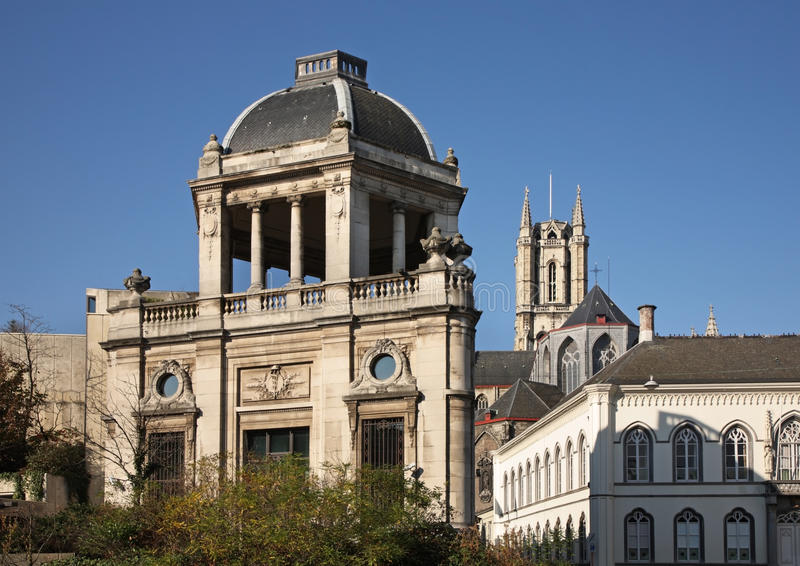 Vecchia città a Gand flanders belgium fotografia stock libera da diritti
