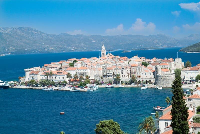 Vecchia città medioevale Korcula - panorama. Il Croatia fotografia stock