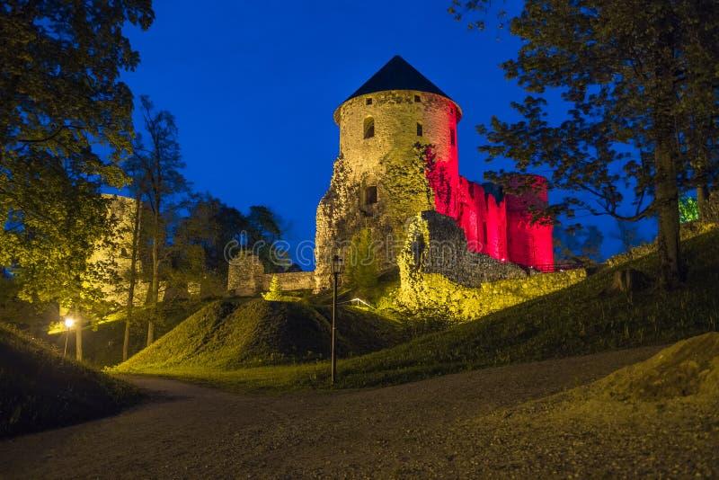 Vecchia città, città, parco del castello in Cesis, Lettonia 2014 fotografia stock