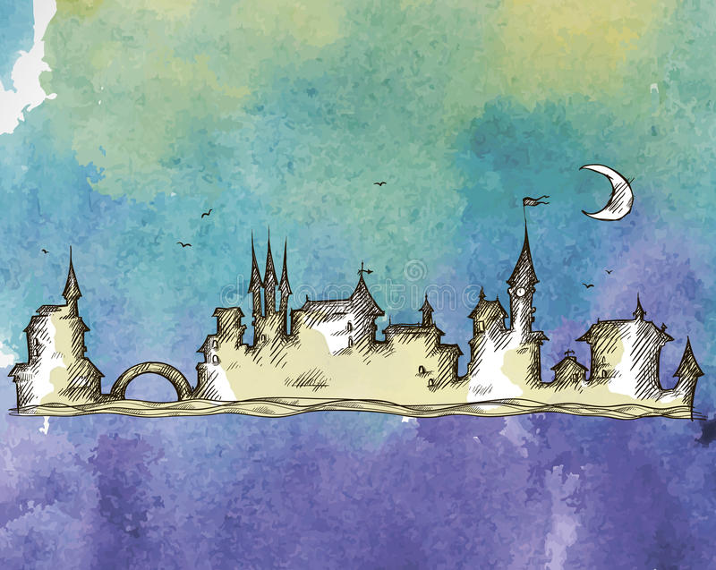Vecchia città su un fondo dell'acquerello illustrazione vettoriale