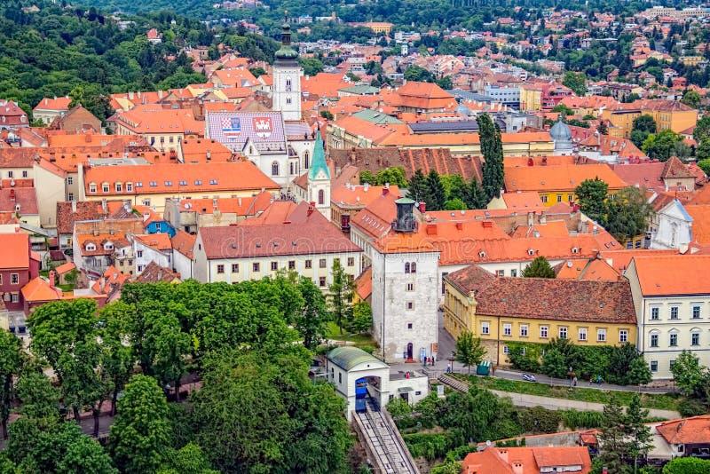 Vecchia città superiore a Zagabria immagine stock