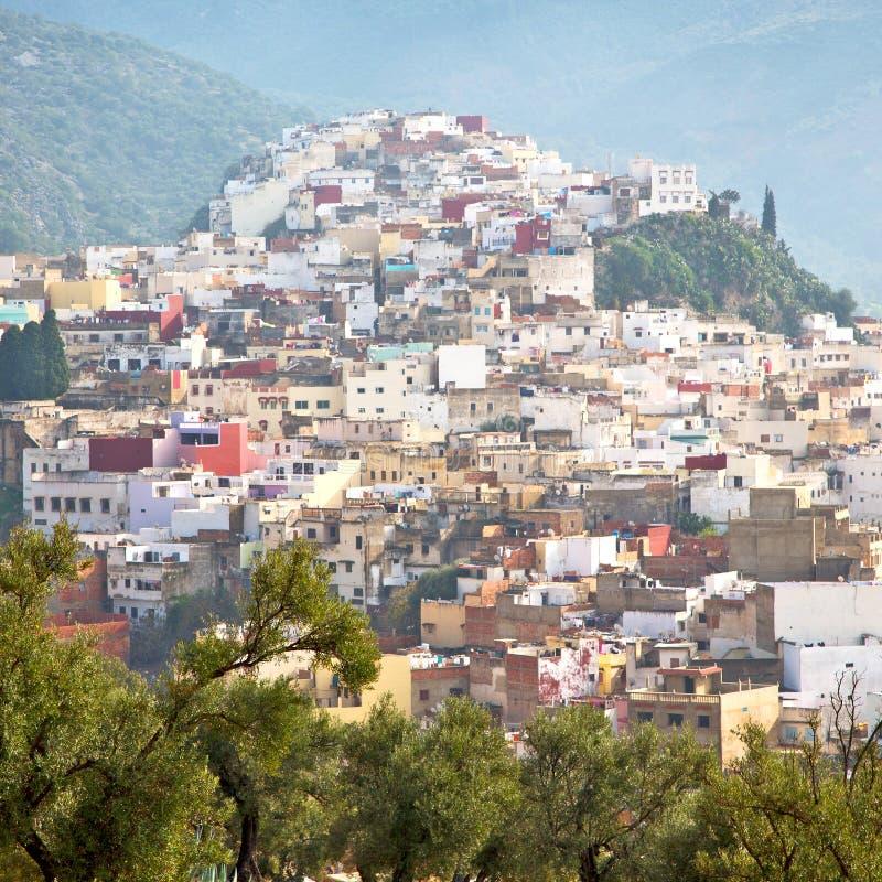 vecchia città in valle della casa e del paesaggio della terra del Marocco Africa immagini stock