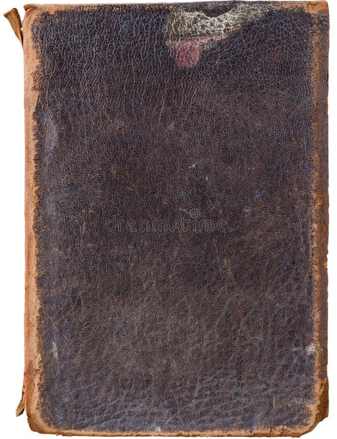 Vecchia copertina di libro di cuoio d'annata avariata isolata su bianco fotografia stock libera da diritti