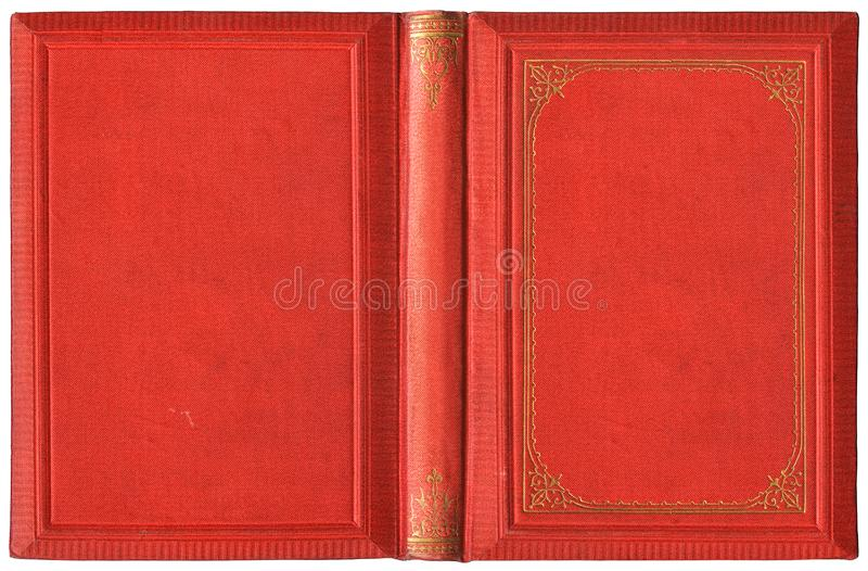 Vecchia copertura del libro aperto nella tela rossa ed in decorazioni dorate impresse - circa 1895 fotografia stock