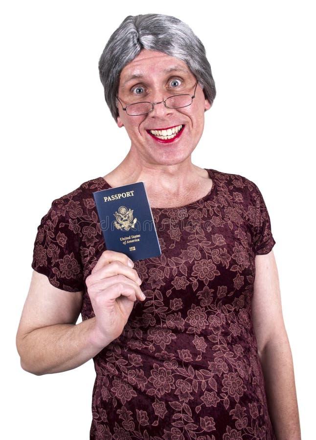 Vecchia corsa maggiore matura brutta divertente del passaporto della donna fotografie stock