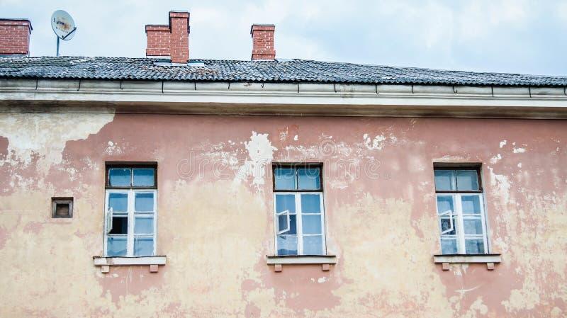 Vecchia costruzione abbandonata Daugavpils, Lettonia immagine stock