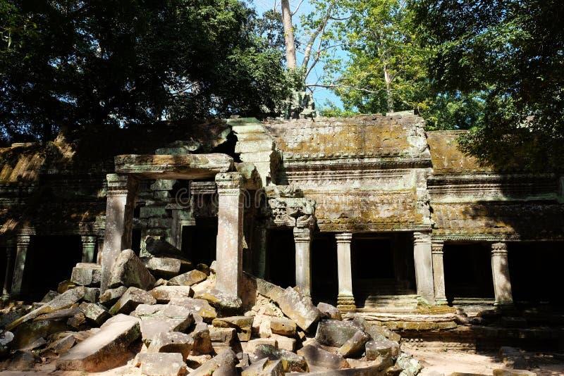 Vecchia costruzione abbandonata Rovine antiche nella foresta pluviale fotografie stock libere da diritti