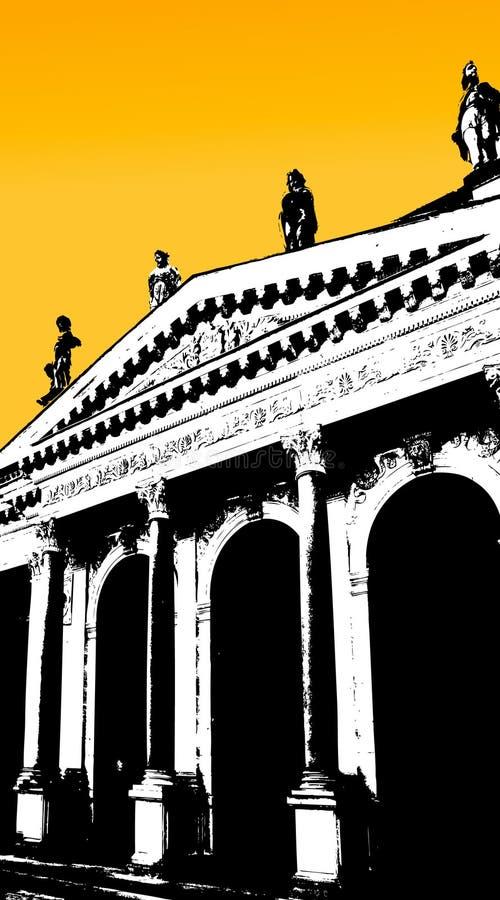 Vecchia costruzione con il cielo giallo. Vettore illustrazione vettoriale