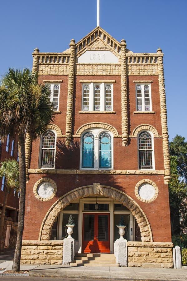 Vecchia costruzione della pietra e del mattone a Charleston fotografia stock