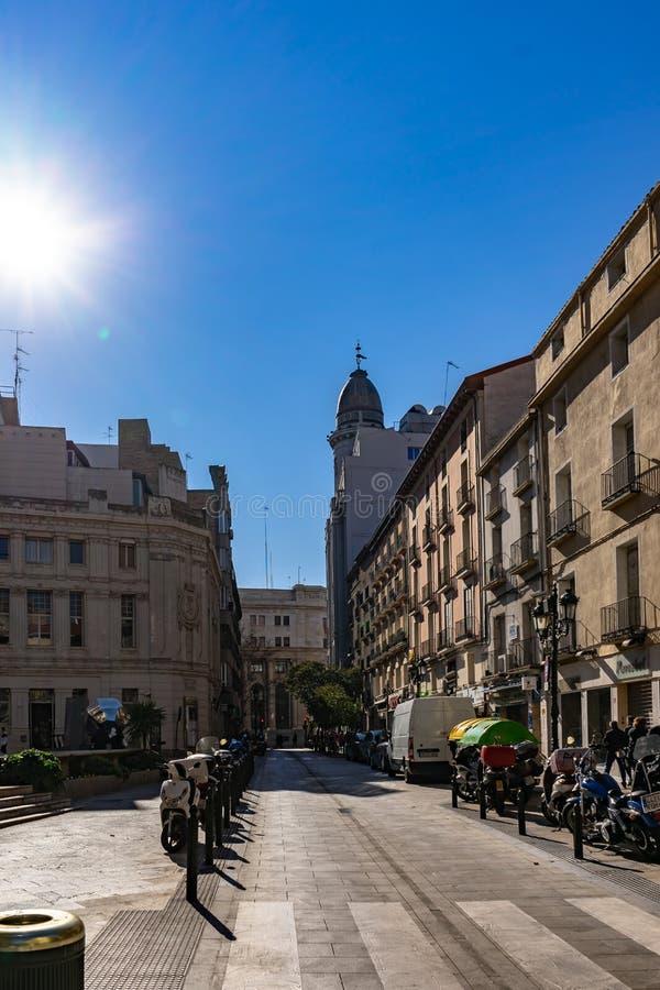 Vecchia costruzione di banca banco di Zaragozano a Saragozza, Spagna immagini stock libere da diritti