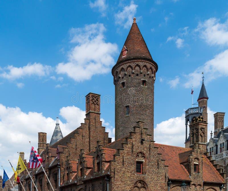 Vecchia costruzione di mattone di Bruges fotografie stock