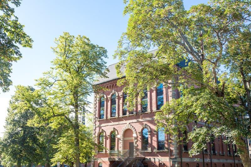 Vecchia costruzione di mattone sotto gli alberi ed il cielo blu verdi immagini stock