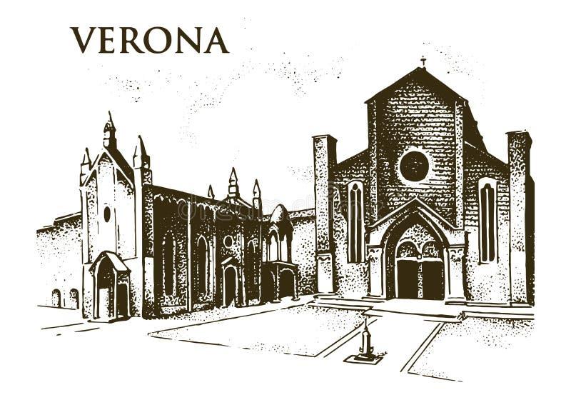 Vecchia costruzione storica Facciata a Verona di uno stile barrocco gotico Architettura antica e via a Venezia Italia illustrazione vettoriale