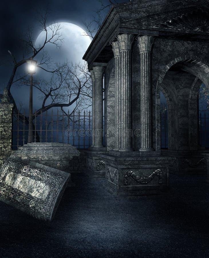 Vecchia cripta in un cimitero gotico royalty illustrazione gratis