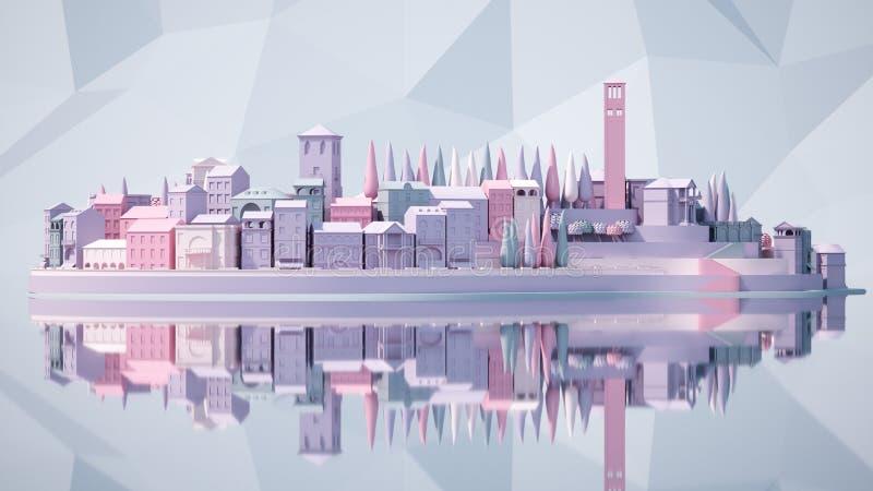 Vecchia della città del mini giocattolo città giù su piccolo iland, rappresentazione 3d illustrazione vettoriale