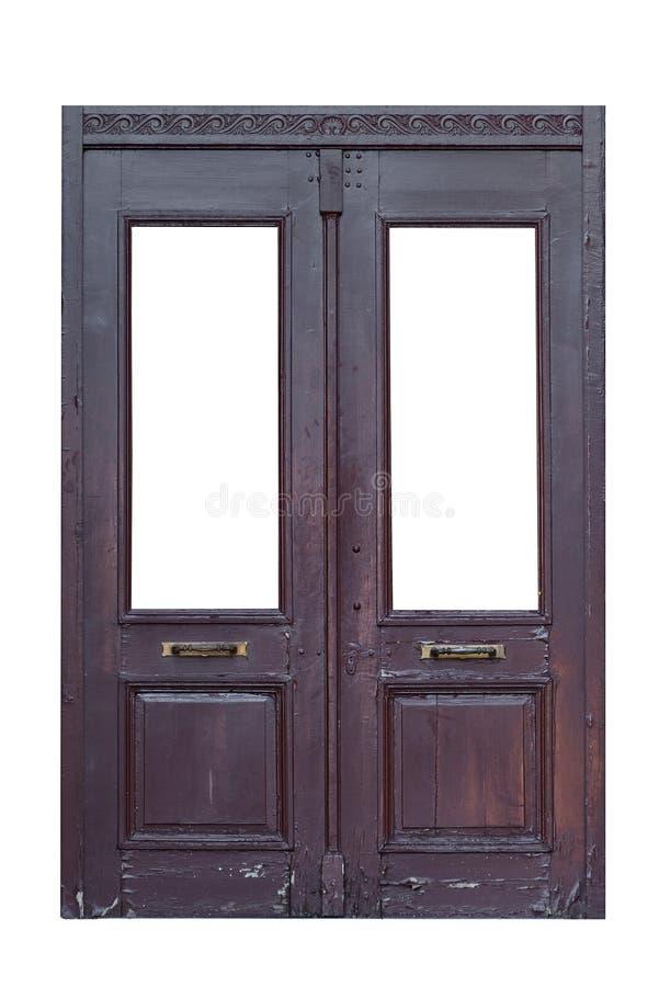 Vecchia doppia porta di legno isolata fotografie stock libere da diritti