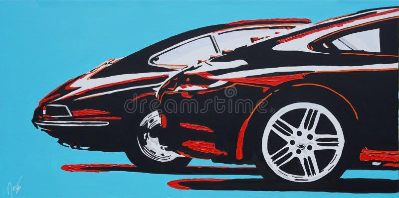 Vecchia e nuova di vista laterale pittura di Porsche immagine stock libera da diritti