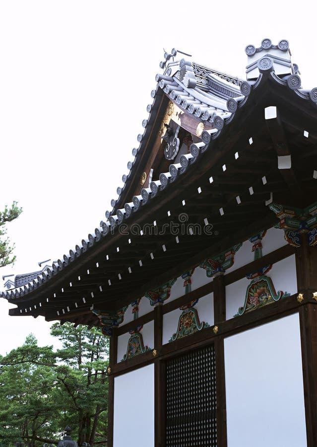 Vecchia entrata giapponese della pagoda o del santuario con il fondo di legno delle decorazioni del tetto fotografia stock libera da diritti